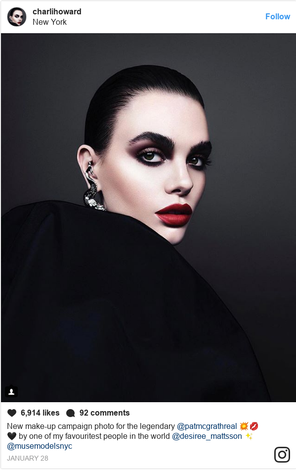 Instagram post by charlihoward: New make-up campaign photo for the legendary @patmcgrathreal 💥💋🖤 by one of my favouritest people in the world @desiree_mattsson ✨ @musemodelsnyc