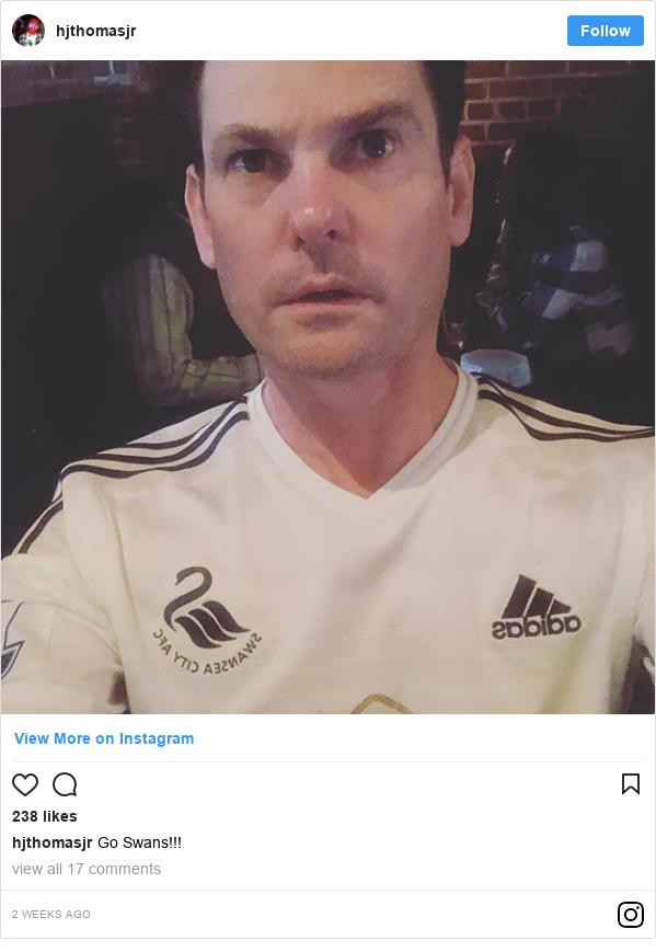 Neges Instagram gan hjthomasjr: Go Swans!!!