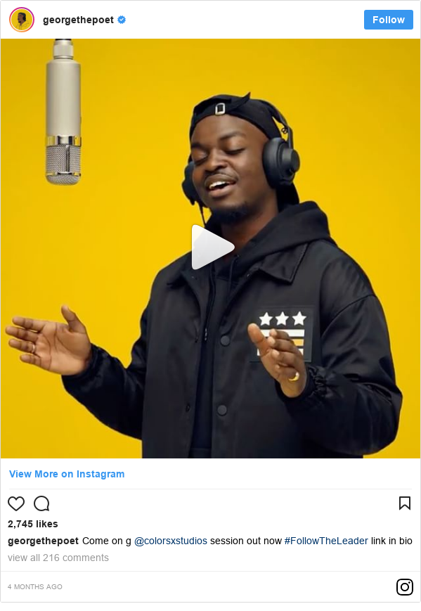 Instagram post by georgethepoet: Come on g @colorsxstudios session out now #FollowTheLeader link in bio