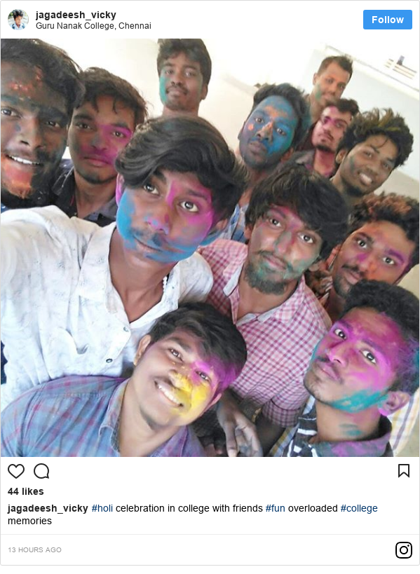 Instagram пост, автор: ya_its_me_jc: #holi celebration in college with friends  #fun overloaded #college memories