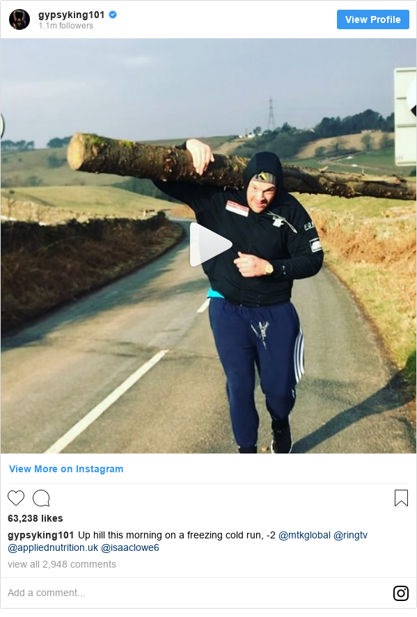 Publicación de Instagram por gypsyking101: Up hill this morning on a freezing cold run, -2 @mtkglobal @ringtv @appliednutrition.uk @isaaclowe6