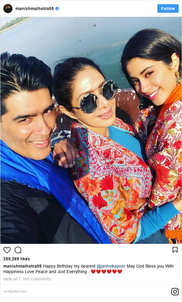 Instagram post by manishmalhotra05: Happy Birthday my  dearest @janhvikapoor May God Bless you With Happiness Love Peace and Just Everything ..❤️❤️❤️❤️❤️❤️
