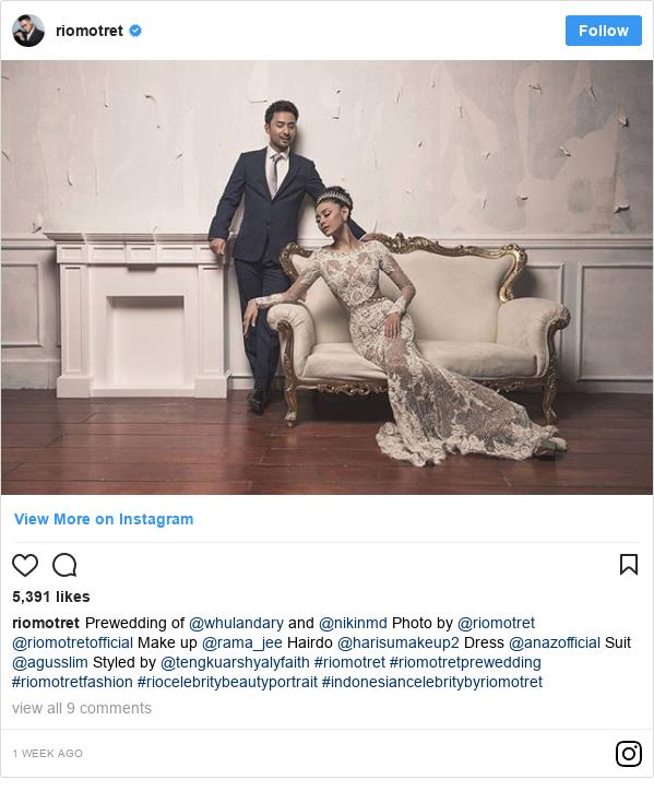 Instagram pesan oleh riomotret: Prewedding of @whulandary and @nikinmd Photo by @riomotret @riomotretofficial  Make up @rama_jee  Hairdo @harisumakeup2  Dress @anazofficial  Suit @agusslim Styled by @tengkuarshyalyfaith  #riomotret  #riomotretprewedding  #riomotretfashion  #riocelebritybeautyportrait  #indonesiancelebritybyriomotret