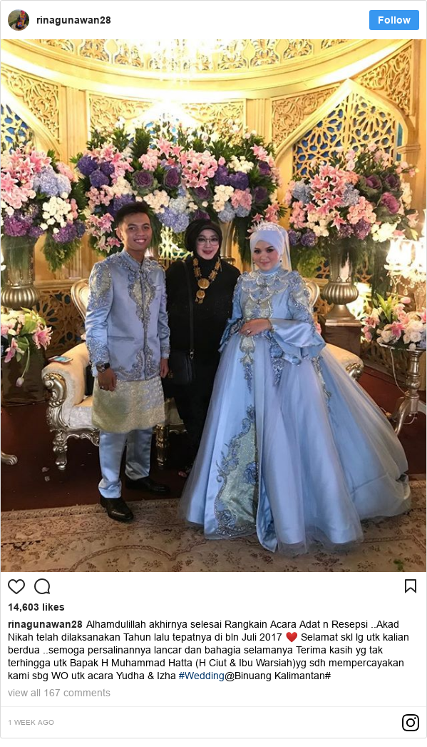 Instagram pesan oleh rinagunawan28: Alhamdulillah akhirnya selesai Rangkain Acara Adat n Resepsi ..Akad Nikah telah dilaksanakan Tahun lalu tepatnya di bln Juli 2017 ❤️ Selamat skl lg utk kalian berdua ..semoga persalinannya lancar dan bahagia selamanya Terima kasih yg tak terhingga utk Bapak H Muhammad Hatta (H Ciut & Ibu Warsiah)yg sdh mempercayakan kami sbg WO utk acara Yudha & Izha  #Wedding@Binuang Kalimantan#