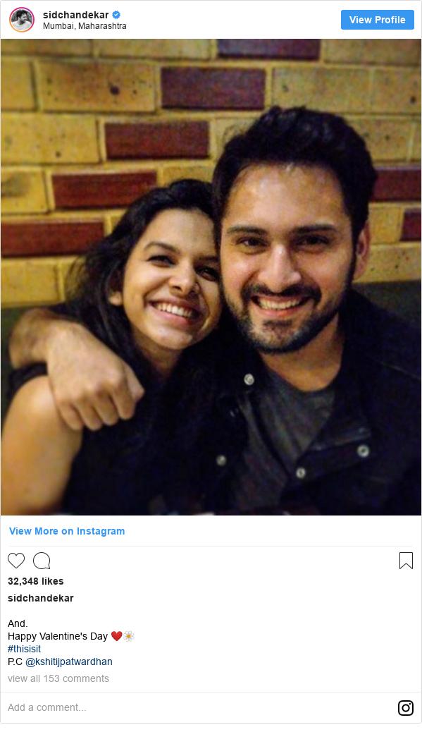 Instagram post by sidchandekar: And. Happy Valentine's Day ❤️🌼 #thisisit  P.C @kshitijpatwardhan