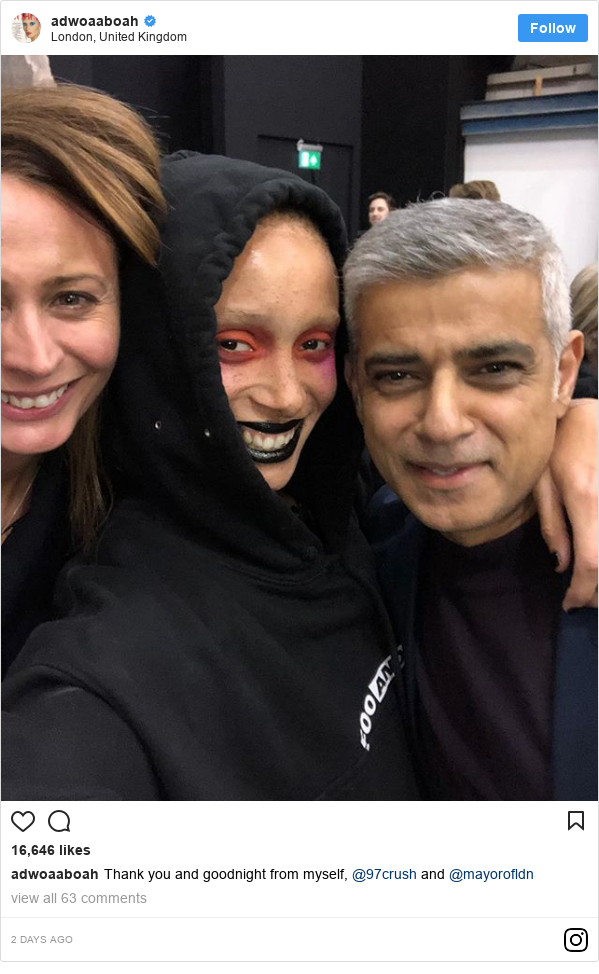 Instagram post by adwoaaboah: Thank you and goodnight from myself, @97crush and @mayorofldn