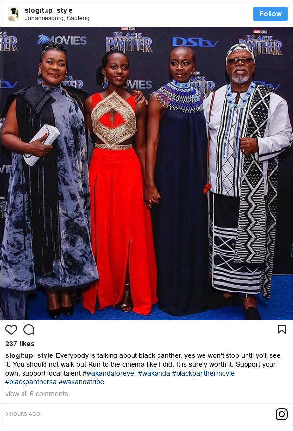Instagram post by slogitup_style: Everybody is talking about black panther, yes we won't stop until yo'll see it. You should not walk but Run to the cinema like I did. It is surely worth it. Support your own, support local talent #wakandaforever  #wakanda  #blackpanthermovie #blackpanthersa #wakandatribe