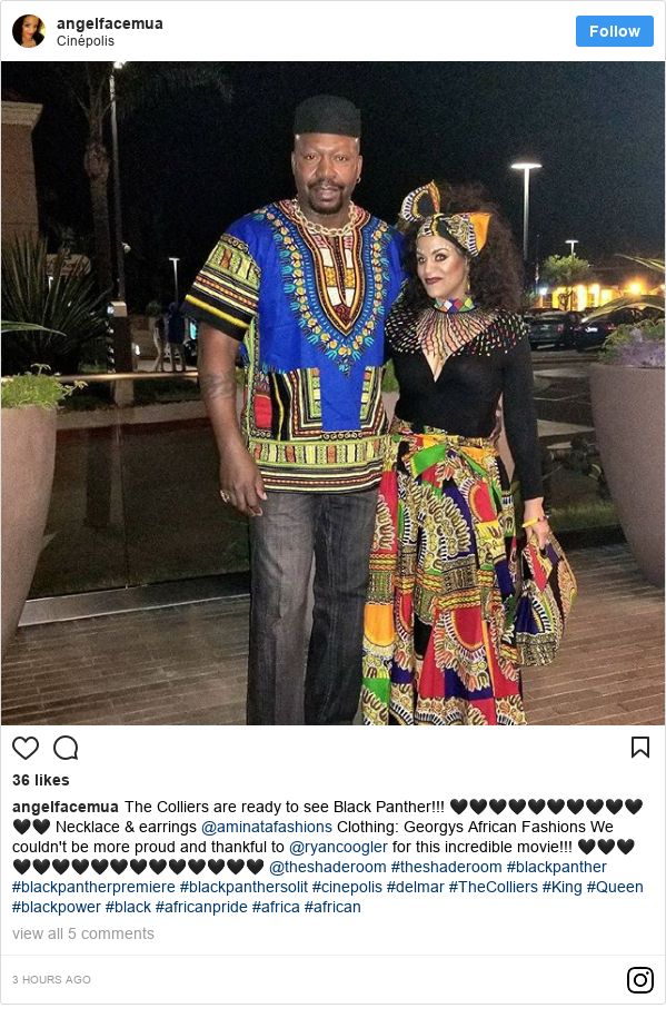 Instagram post by angelfacemua: The Colliers are ready to see Black Panther!!! 🖤🖤🖤🖤🖤🖤🖤🖤🖤🖤🖤🖤 Necklace & earrings @aminatafashions  Clothing  Georgys African Fashions  We couldn't be more proud and thankful to @ryancoogler for this incredible movie!!! 🖤🖤🖤🖤🖤🖤🖤🖤🖤🖤🖤🖤🖤🖤🖤🖤 @theshaderoom #theshaderoom #blackpanther #blackpantherpremiere #blackpanthersolit #cinepolis #delmar #TheColliers #King #Queen #blackpower #black #africanpride #africa #african