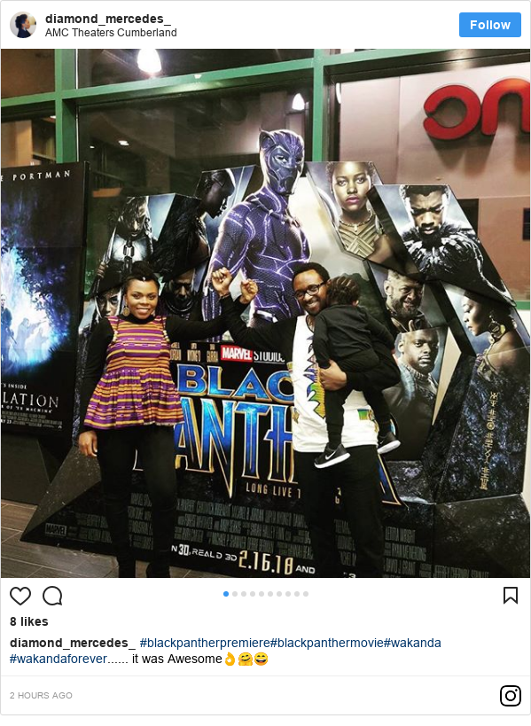 Instagram post by diamond_mercedes_: #blackpantherpremiere#blackpanthermovie#wakanda #wakandaforever...... it was Awesome👌🤗😄
