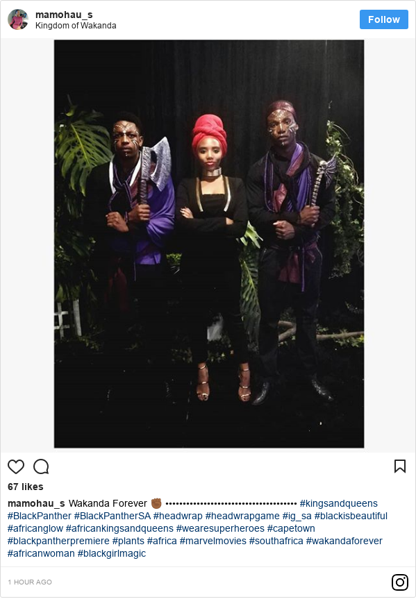 Instagram post by mamohau_s: Wakanda Forever ✊🏾 •••••••••••••••••••••••••••••••••••••• #kingsandqueens #BlackPanther #BlackPantherSA #headwrap #headwrapgame #ig_sa #blackisbeautiful #africanglow #africankingsandqueens #wearesuperheroes #capetown #blackpantherpremiere #plants #africa #marvelmovies #southafrica #wakandaforever #africanwoman #blackgirlmagic