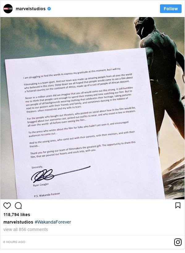 Instagram post by marvelstudios: #WakandaForever
