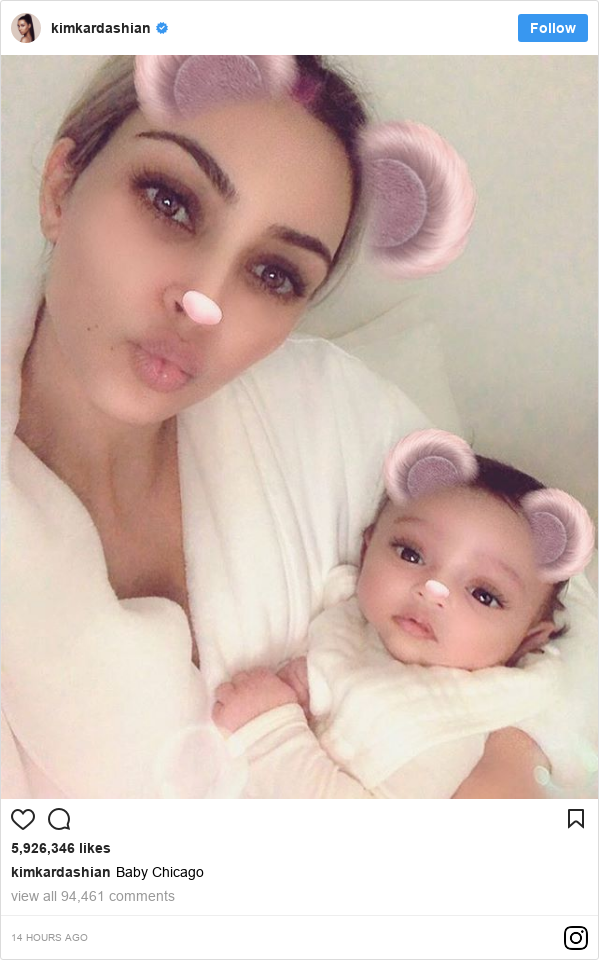 انسٹا گرام پوسٹس kimkardashian کے حساب سے: Baby Chicago