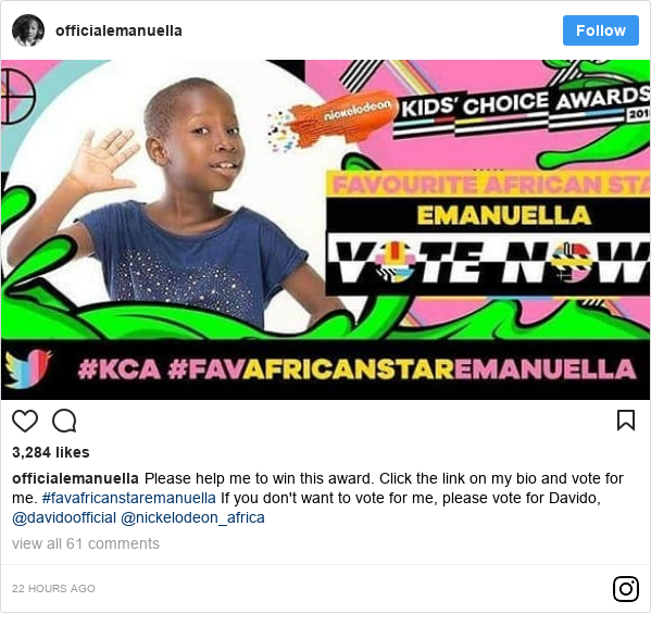 Instagram post by officialemanuella: Please help me to win this award.  Click the link on my bio and vote for me. #favafricanstaremanuella If you don't want to vote for me,  please vote for Davido, @davidoofficial @nickelodeon_africa