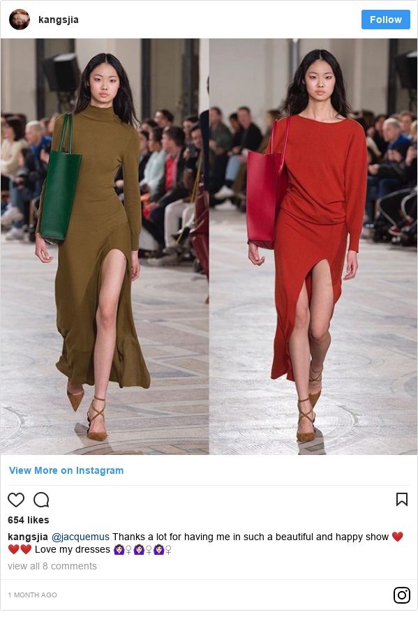 Instagram пост, автор: kangsjia: @jacquemus Thanks a lot for having me in such a beautiful and happy show ❤️❤️❤️ Love my dresses 🙆🏻‍♀️🙆🏻‍♀️🙆🏻‍♀️
