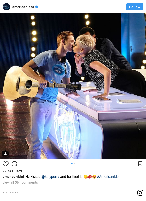 Instagram post by americanidol: He kissed @katyperry and he liked it. 😘💋😍 #AmericanIdol