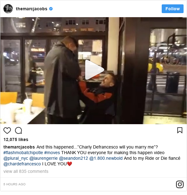 """Instagram post by themarcjacobs: And this happened...""""Charly Defrancesco will you marry me""""? #flashmobatchipotle #moves THANK YOU everyone for making this happen video @plural_nyc @laurengerrie @seandon212 @1.800.newbold And to my Ride or Die fiancé @chardefrancesco I LOVE YOU❤️"""
