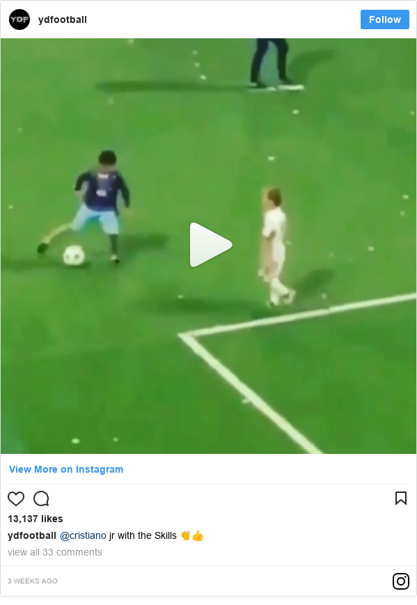 Ujumbe wa Instagram wa ydfootball: @cristiano jr with the Skills 👏👍