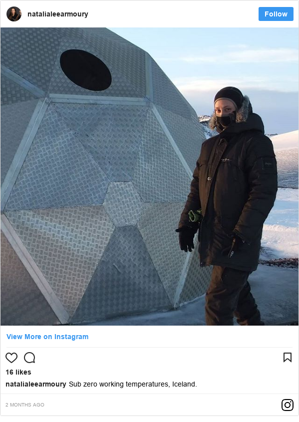 Instagram post by womanofweapons: Sub zero working temperatures, Iceland.