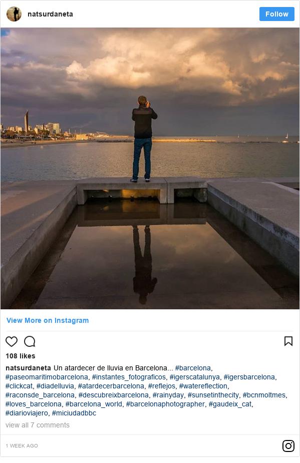 Publicación de Instagram por natsurdaneta: Un atardecer de lluvia en Barcelona... #barcelona, #paseomaritimobarcelona, #instantes_fotograficos, #igerscatalunya, #igersbarcelona, #clickcat, #diadelluvia, #atardecerbarcelona, #reflejos, #watereflection, #raconsde_barcelona, #descubreixbarcelona, #rainyday, #sunsetinthecity, #bcnmoltmes, #loves_barcelona, #barcelona_world, #barcelonaphotographer, #gaudeix_cat, #diarioviajero, #miciudadbbc