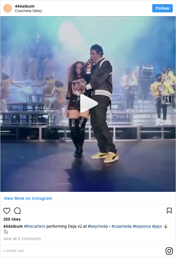 Instagram post by 444album: #thecarters performing Deja vú at #beychella • #coachella #beyonce #jayz 🐝🐐