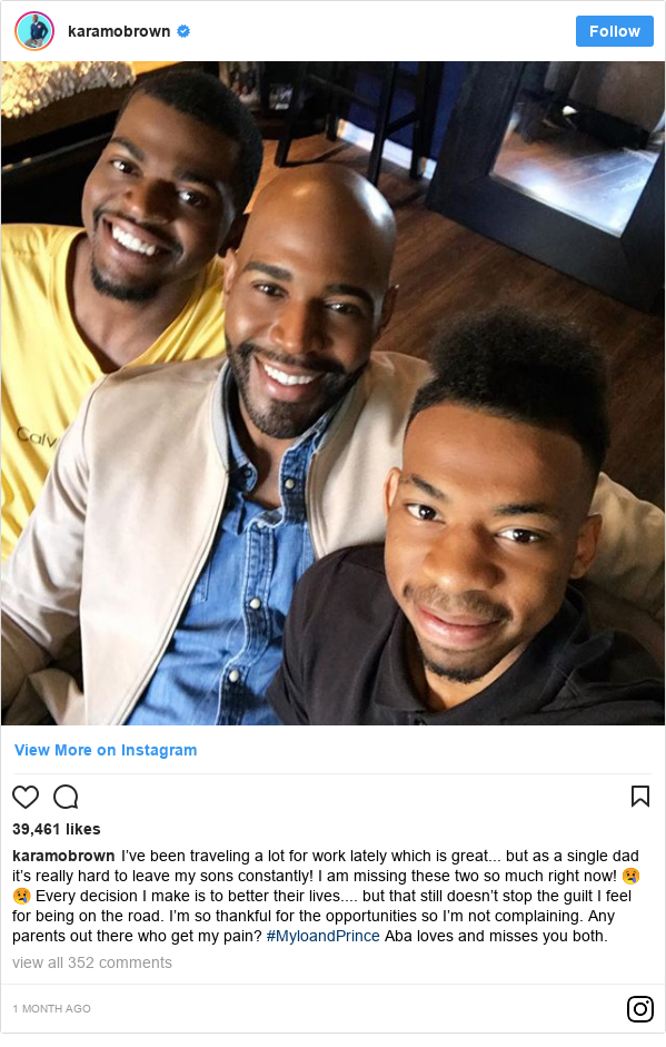 Instagram post by karamobrown: I've been traveling a lot for work lately which is great... but as a single dad it's really hard to leave my sons constantly! I am missing these two so much right now! 😢😢 Every decision I make is to better their lives.... but that still doesn't stop the guilt I feel for being on the road. I'm so thankful for the opportunities so I'm not complaining. Any parents out there who get my pain? #MyloandPrince Aba loves and misses you both.