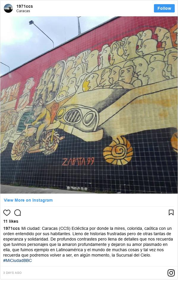 Publicación de Instagram por 1971ccs: Mi ciudad  Caracas (CCS) Ecléctica por donde la mires, colorida, caótica con un orden entendido por sus habitantes. Lleno de historias frustradas pero de otras tantas de esperanza y solidaridad. De profundos contrastes pero llena de detalles que nos recuerda que tuvimos personajes que la amaron profundamente y dejaron su amor plasmado en ella, que fuimos ejemplo en Latinoamérica y el mundo de muchas cosas y tal vez nos recuerda que podremos volver a ser, en algún momento, la Sucursal del Cielo.  #MiCiudadBBC