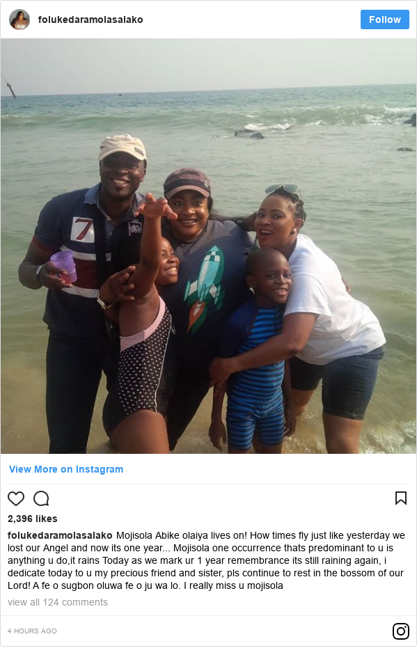 Instagram post by folukedaramolasalako: Mojisola Abike olaiya lives on! How times fly just like yesterday we lost our Angel and now its one year... Mojisola one occurrence thats predominant to u is anything u do,it rains Today as we mark ur 1 year remembrance its still raining again, i dedicate today to u my precious friend and sister, pls continue to rest in the bossom of our Lord! A fe o sugbon oluwa fe o ju wa lo. I really miss u mojisola