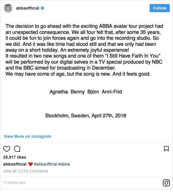 Instagram pesan oleh abbaofficial: ❤️ #abbaofficial #abba
