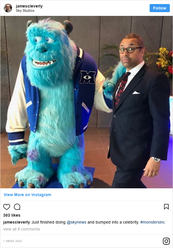 Instagram post by jamescleverly: Just finished doing @skynews and bumped into a celebrity. #monstersinc