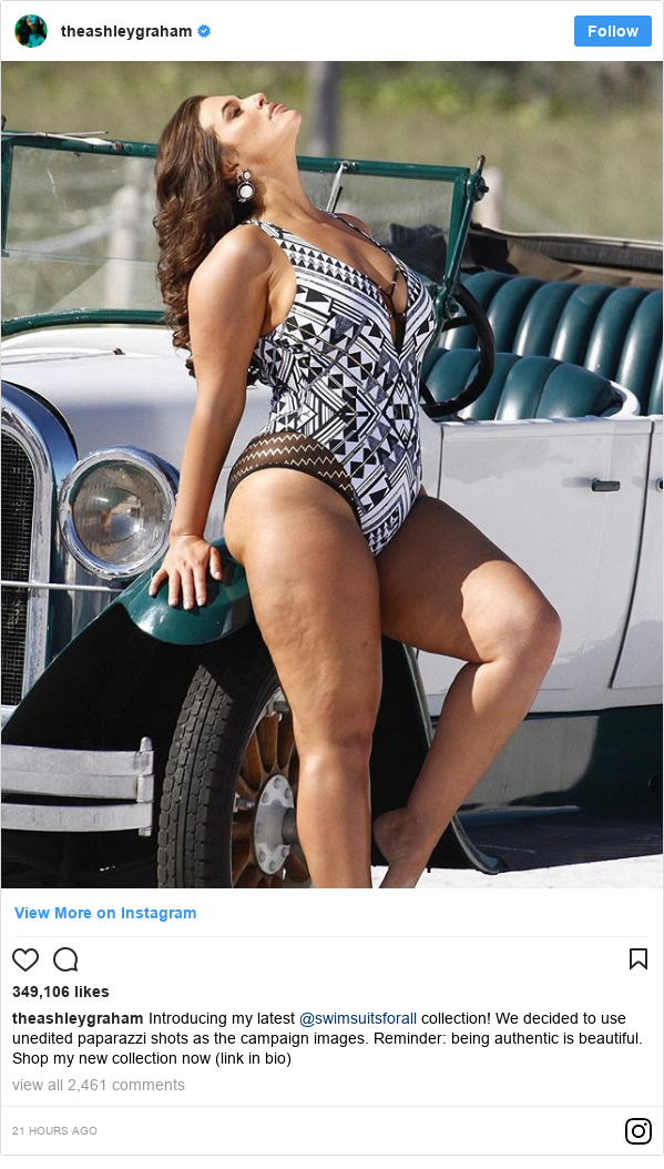 Instagram post by ashleygraham: Introducing my latest @swimsuitsforall collection! We decided to use unedited paparazzi shots as the campaign images. Reminder  being authentic is beautiful. Shop my new collection now (link in bio)