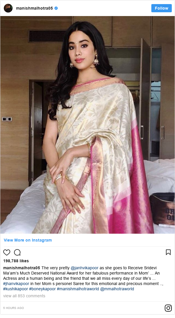 Instagram post by manishmalhotra05: The very pretty @janhvikapoor as she goes to Receive Sridevi Ma'am's Much Deserved National Award for her fabulous performance in Mom' ... An Actress and a human being and the friend that we all miss every day of our life's ... #jhanvikapoor in her Mom s personel Saree for this emotional and precious moment .., #kushikapoor #boneykapoor #manishmalhotraworld @mmalhotraworld