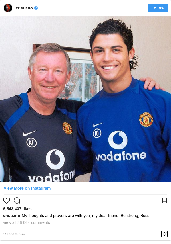 Instagram post by cristiano: My thoughts and prayers are with you, my dear friend. Be strong, Boss!