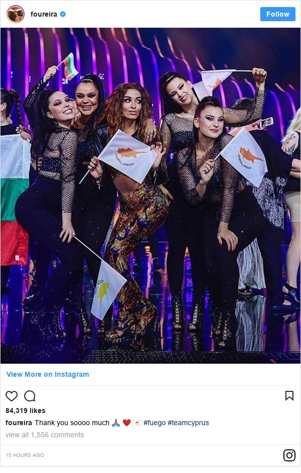 Instagram post by foureira: Thank you soooo much 🙏🏽 ❤️ 🇨🇾 #fuego #teamcyprus