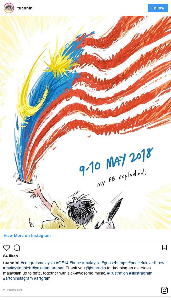 Instagram 用户名 tuannini: #congratsmalaysia #GE14 #hope #malaysia #goosebumps #peacefuloverthrow #malaysiaboleh #pakatanharapan Thank you @bfmradio for keeping an overseas malaysian up to date, together with sick-awesome music.  #illustration #illustragram #artoninstagram #artgram