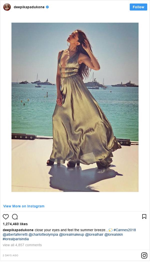 د deepikapadukone په مټ انسټاګرام  تبصره : close your eyes and feel the summer breeze...💫 #Cannes2018 @albertaferretti @charlotteolympia  @lorealmakeup @lorealhair @lorealskin #lorealparisindia