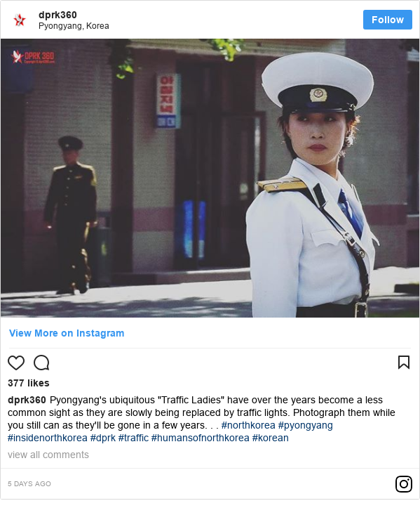"""Publicación de Instagram por dprk360: Pyongyang's ubiquitous """"Traffic Ladies"""" have over the years become a less common sight as they are slowly being replaced by traffic lights. Photograph them while you still can as they'll be gone in a few years. . . #northkorea #pyongyang #insidenorthkorea #dprk #traffic #humansofnorthkorea #korean"""