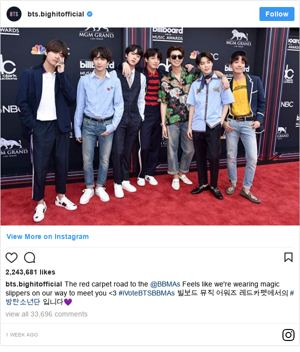 Instagram 用户名 bts.bighitofficial: The red carpet road to the @BBMAs Feels like we're wearing magic slippers on our way to meet you <3 #iVoteBTSBBMAs  빌보드 뮤직 어워즈 레드카펫에서의 #방탄소년단 입니다💜