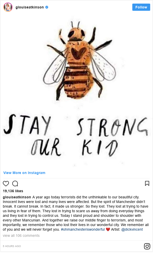 Instagram post by glouiseatkinson: A year ago today terrorists did the unthinkable to our beautiful city. Innocent lives were lost and many lives were affected. But the spirit of Manchester didn't break. It cannot break. In fact, it made us stronger. So they lost. They lost at trying to have us living in fear of them. They lost in trying to scare us away from doing everyday things and they lost in trying to control us. Today I stand proud and shoulder to shoulder with every other Mancunian. And together we raise our middle finger to terrorism, and most importantly, we remember those who lost their lives in our wonderful city. We remember all of you and we will never forget you. #ohmanchesteriswonderful ❤️ Artist  @dickvincent