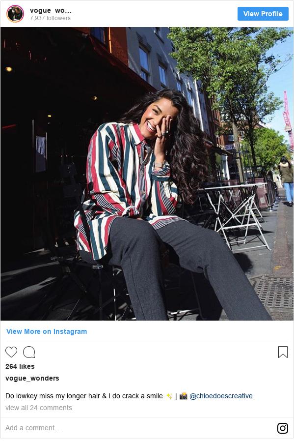 Publicación de Instagram por vogue_wonders: Do lowkey miss my longer hair & I do crack a smile ✨ | 📸 @chloedoescreative