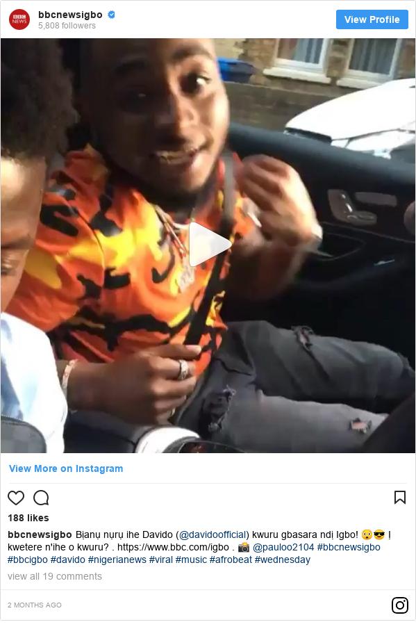 Instagram post by bbcnewsigbo: Bịanụ nụrụ ihe Davido (@davidoofficial) kwuru gbasara ndị Igbo! 😲😎 Ị kwetere n'ihe o kwuru? . https //www.bbc.com/igbo . 📸 @pauloo2104  #bbcnewsigbo #bbcigbo #davido #nigerianews #viral #music #afrobeat #wednesday