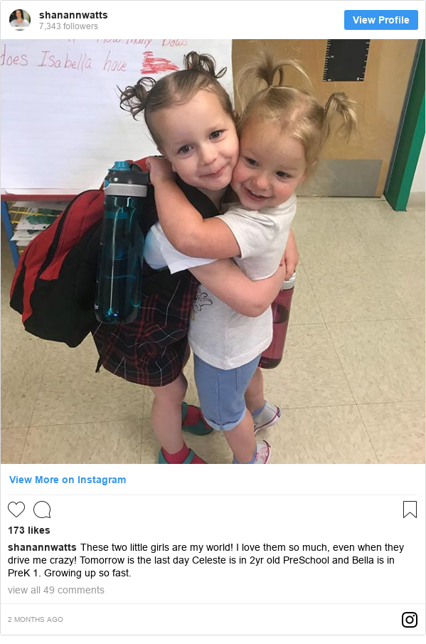 Instagram post by shanannwatts: These two little girls are my world! I love them so much, even when they drive me crazy! Tomorrow is the last day Celeste is in 2yr old PreSchool and Bella is in PreK 1. Growing up so fast.