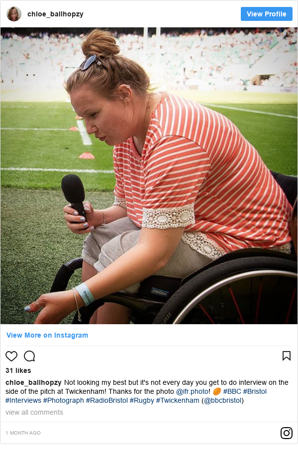 Instagram post by chloe_ballhopzy: Not looking my best but it's not every day you get to do interview on the side of the pitch at Twickenham! Thanks for the photo @ifr.photo! 🏉 #BBC #Bristol #Interviews #Photograph #RadioBristol #Rugby #Twickenham (@bbcbristol)