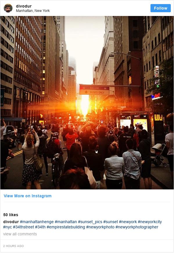 Instagram post by divodur: #manhattanhenge #manhattan #sunset_pics #sunset #newyork #newyorkcity #nyc #34thstreet #34th #empirestatebuilding #newyorkphoto #newyorkphotographer
