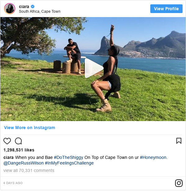 Instagram post by ciara: When you and Bae #DoTheShiggy On Top of Cape Town on ur #Honeymoon. @DangeRussWilson #InMyFeelingsChallenge