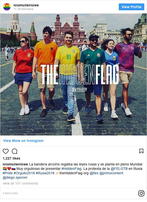 Instagram post by lolamullenlowe: La bandera arcoíris regatea las leyes rusas y se planta en pleno Mundial 🏳️🌈❤️🇷🇺 Muy orgullosxs de presentar #HiddenFlag. La protesta de la @FELGTB en Rusia #Pride #Orgullo2018 #Rusia2018 👉🏻theHiddenFlag.org @tles @primocontent @diego.speroni