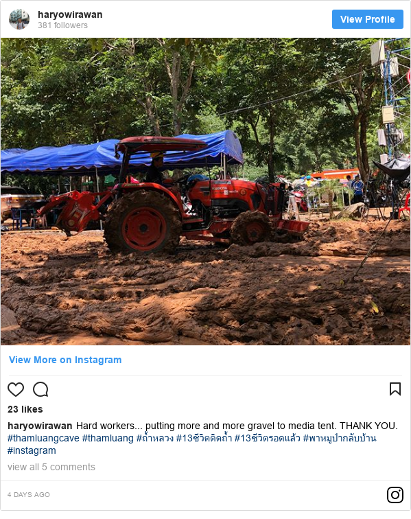 Instagram pesan oleh haryowirawan: Hard workers... putting more and more gravel to media tent. THANK YOU.  #thamluangcave #thamluang #ถ้ำหลวง #13ชีวิตติดถ้ำ #13ชีวิตรอดแล้ว #พาหมูป่ากลับบ้าน #instagram