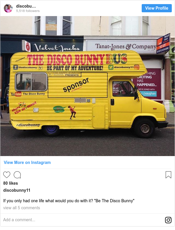 """Instagram post by discobunny11: If you only had one life what would you do with it? """"Be The Disco Bunny"""""""