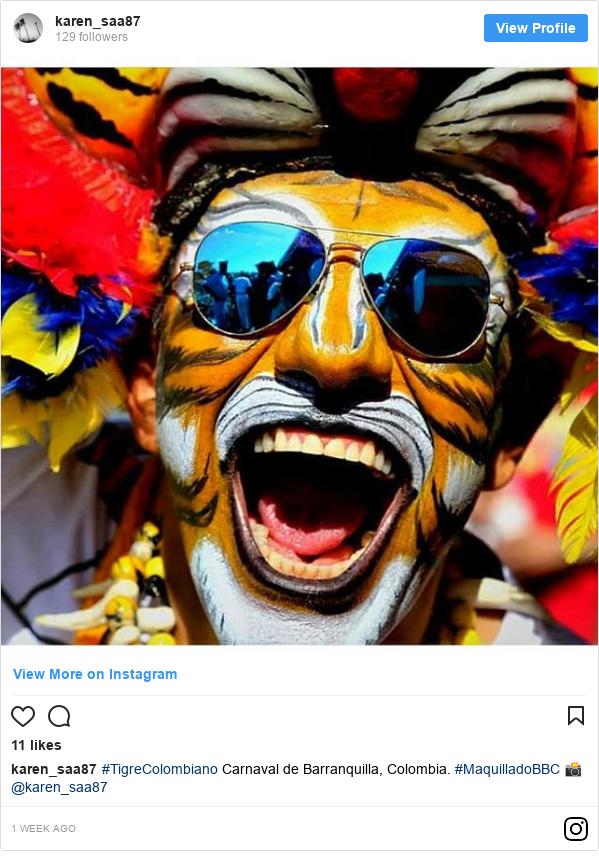 Publicación de Instagram por karen_saa87: #TigreColombiano Carnaval de Barranquilla, Colombia. #MaquilladoBBC 📸 @karen_saa87