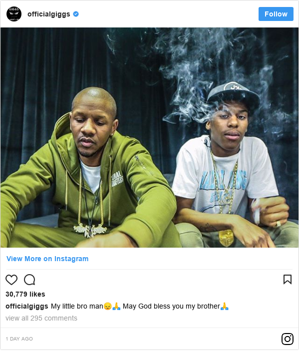 Instagram post by officialgiggs: My little bro man😔🙏 May God bless you my brother🙏
