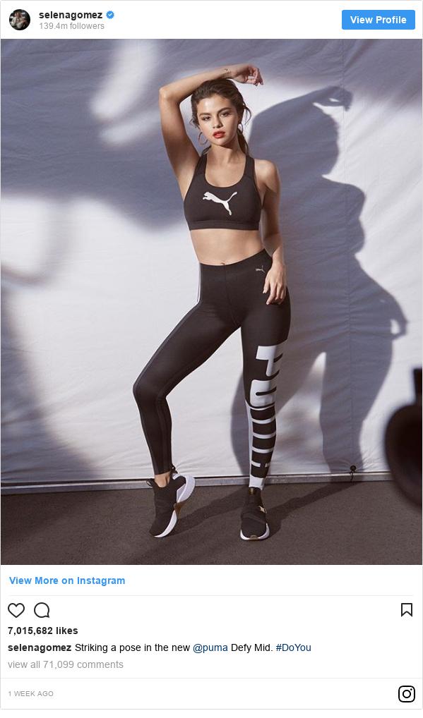 Publicación de Instagram por selenagomez: Striking a pose in the new @puma Defy Mid. #DoYou